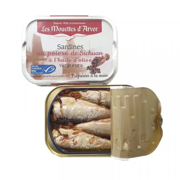 Les Mouettes d'Arvor Sardines in Extra Virgin Olive Oil with Sichuan Pepper